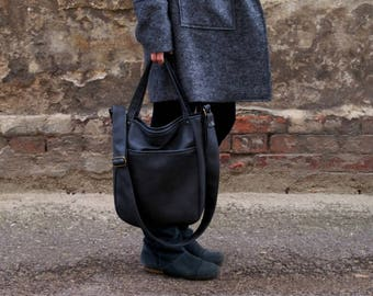 IKS pocket graphite bag / casual simple minimal urban city street vegan eco fake leather shoulder cross body / zipped pocket / everyday big