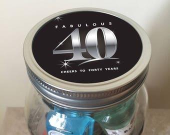 Fabulous 40th Birthday Minibar in a Jar - Milestone Birthday
