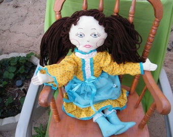 Two Foot Tall Rag Doll With Brown Yarn Hair and a Yellow Dress