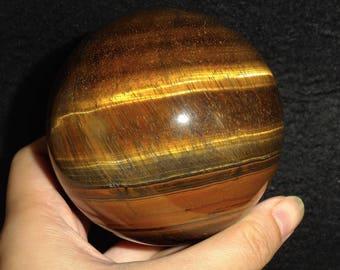 Large Natural Golden Tiger Eye Quartz Flashy Mineral Crystal Sphere Ball Chakra Healing Rock Gemstone