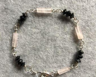 Swarovski Jet Crystal & Rose Quartz Bracelet