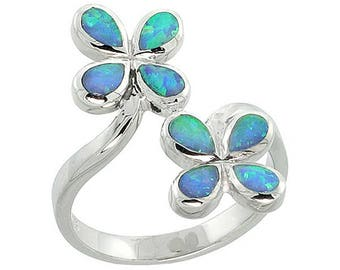 Sterling Silver Blue Opal Flower Statement Ring