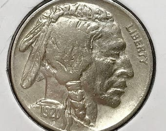 1920 P Buffalo Nickel - AU / Almost Uncirculated