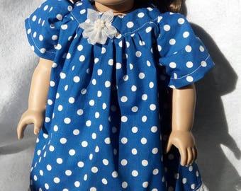 Blue Polka Dot Doll Dress