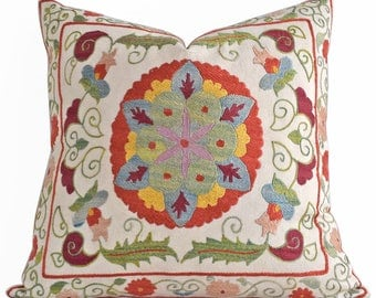 SALE! Hand Embroidery Silk Suzani pillow, Multicolor Suzani Pillow Cover, Decorative Pillow, Throw Pillow, Accent Pillow, Home Decor