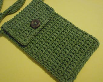 "Crochet Cell Phone Case Purse  or Bag With 42 Inch Strap in Green 6 and 3/4 "" Long by 4 and 1/2 ""  Wide"