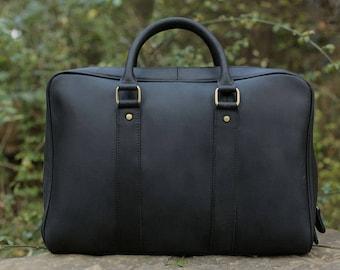 Black Leather Messenger/ Laptop bag/ Shoulder bag/ Briefcase/ Travel Bag/ Handmade/ Genuine Leather/ Mens gift/ Mens Briefcase