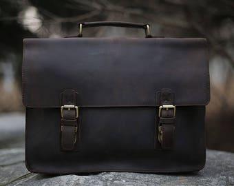 Leather Messenger bag/ Leather Shoulder Bag/ Laptop Bag/ Leather Briefcase / School Bag/ Mens Leather Bag/ Mens gift