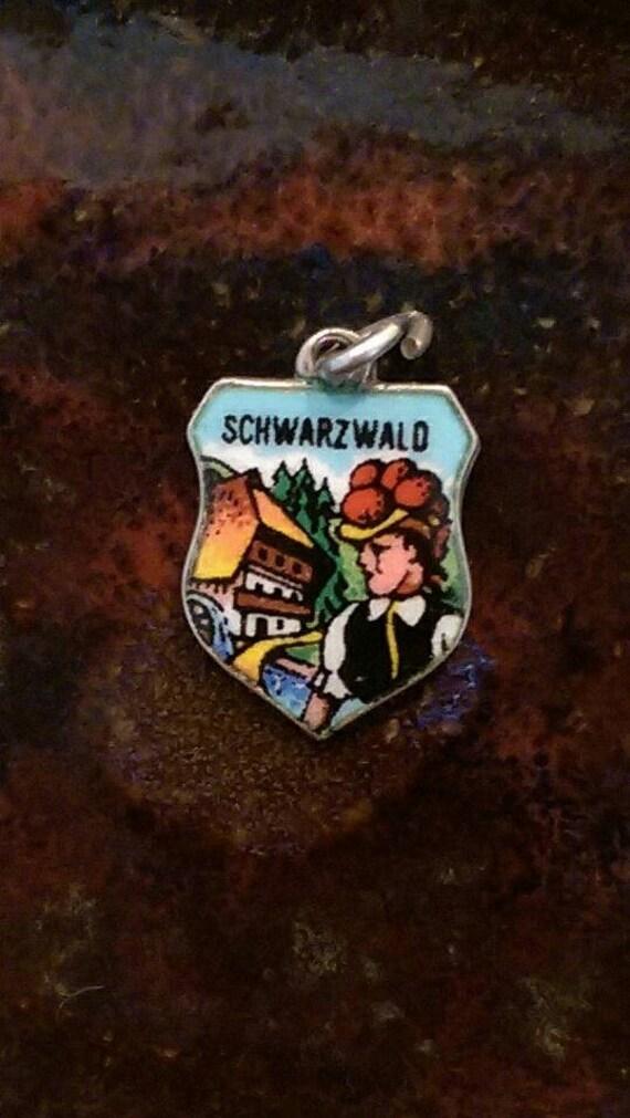 Schwarzwald black forest germany enamel travel shield vintage 800 silver charm