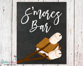 S'mores Bar Chalkboard Sign, PRINTABLE S'mores Bar Sign, Smores Bar Party Sign, S'mores And Bonfire Party, INSTANT DOWNLOAD Party Signs