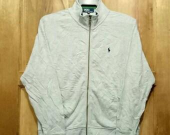 Rare!! Polo by Ralph Lauren sweatshirts sweater small pony full zipper grey colour medium size