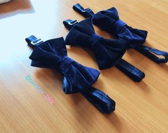 Handmade blue velvet bow-tie for gentleman
