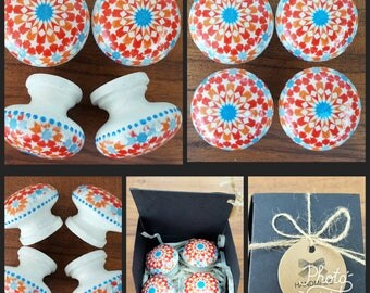 Set of 4 Hand Decorated Red Blue and Orange Moroccan Tile Kaleidoscope Pattern Wooden Drawer Knobs Pulls