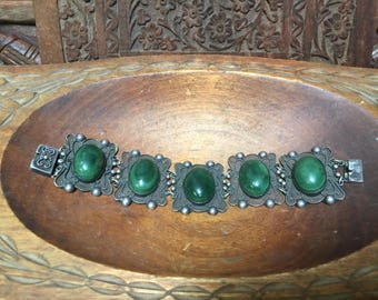 Vintage Malachite and silver bracelet from Mexico