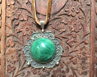 Old Vintage Malachite and silver pendant from Mexico.