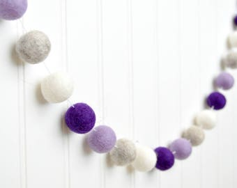 Purple Nursery Decor, Purple and Gray Nursery Garland, Purple and White Felt Ball Garland, Pom Pom Garland Baby Girl Baby Shower Decorations