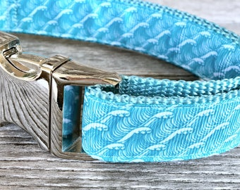 "Waves for Days 1"" Wide Dog Collar, Dog Collar Nylon Webbing Silver Hardware"