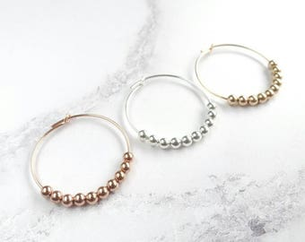 Beaded Hoop Earrings - Gold Filled Hoops - Sterling Silver Hoops - Gold Hoop Earrings - Silver Hoop Earrings - Rose Gold Hoop - Gift for Her