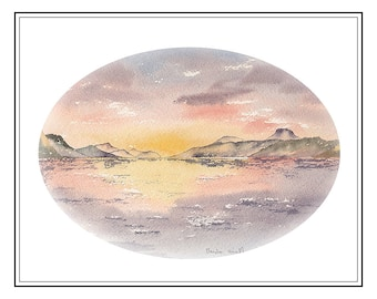 Original watercolour painting of Loch Ness Sunset from Dores, supplied with vanilla mount with oval aperture, total size is 400mm x 300mm