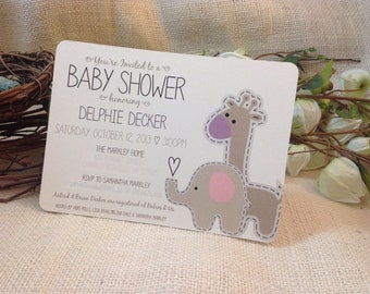Elephant and Giraffe Baby Shower Invitation with blank envelope // DIY // Printable // Template