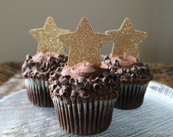 Twinkle twinkle little star cupcake toppers 12 ct | Twinkle star birthday, baby shower | Twinkle star party decor | Gold star food pick
