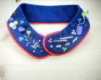 """Peter Pan collar removable beaded cotton """"officer"""""""