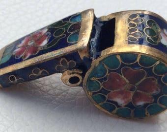 Vintage Cloisonne Enamel and Brass Whistle.