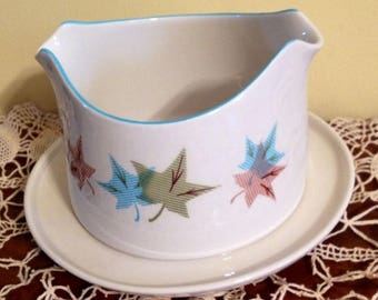 FRANCISCAN Sycamore Gravy Boat Gladding McBean USA Vintage Pottery Retro Leaves
