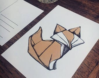 "Postcard ""Origami Fox"""