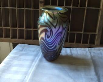 Vintage Eickholt Art Glass Vase, Hand Blown Glass, Made in the 1980's