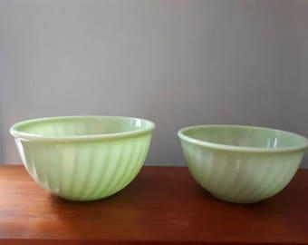Vintage Fire King Swirl Jadeite Bowls