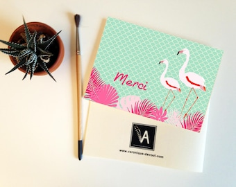 Thank you card, Thank you card matching double pink Flamingo bird illustration