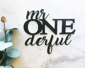Mr One derful Cake or Cupcake Topper- First birthday/1st Birthday/First Birthday Cake/Cake Smash/1st Birthday/One Cake Topper/onederful