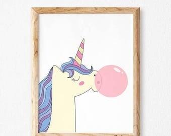 Girl Wall Decor, Baby Girl Wall Art, StudioM, Baby Girl Room Decor, Baby Girl Room Decorations, Baby Girl Prints, Baby Girl Art, unicorn