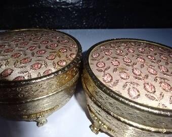 Regent of London Powder Pot/Trinket Pot/Footed Powder Pot/Pink & Gold/Petit Point Embroidery/Dressing Table Vanity/Vintage/1940s-1950s