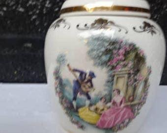 Lord Nelson Pottery Storage Jar/Lidded Pot/Pomander Jar/Courting Couple/Floral/Vintage Storage Pot/Storage Jar/Collectable/Vintage