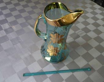 Mid Century Modern Aqua Bohemian Glass Pitcher with Stirrer