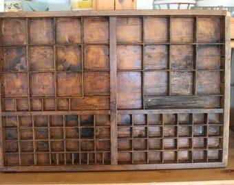 Great old, vintage wooden printer drawer