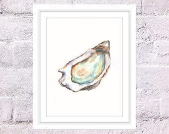 Oyster Print, Watercolour Oyster, Kitchen Print, Oyster Quote, Seafood Print, Watercolour Food, Watercolor Seafood, Shell Print
