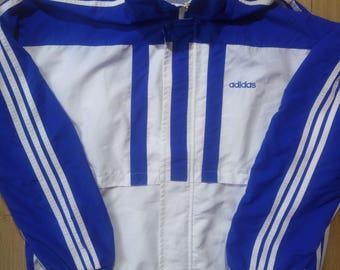 Adidas 90's Vintage Mens Tracksuit Top Jacket Windbreaker Lightweight White Blue