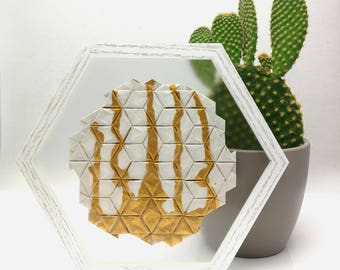 Origami Tessellation with golden drips, white, wall decor, framed, transparent, see through, modern, abstract, mimilistic