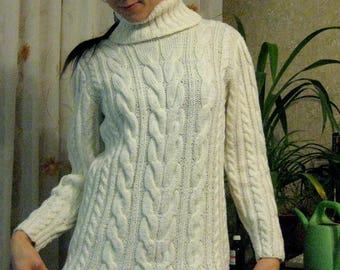 Women sweater pullover sweater chunky knit sweater jumper cable handmade sweater cream sweater soft sweater white knitwear winter sweater