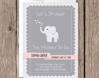 Printable Baby Shower Invitation | Evite | Instant Download | Baby Elephant