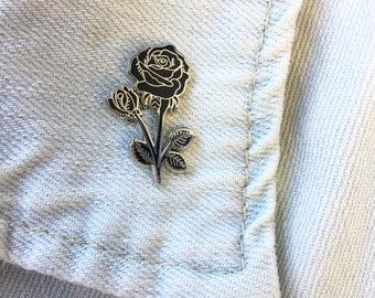 Black Rose Enamel Pin