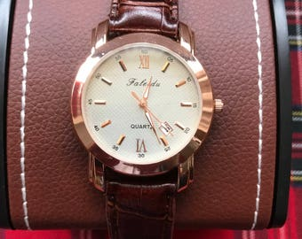 New For The Summer....Men's Rose Gold Quartz Luxurious Watch Time/Date Watch With A Brown Leather Strap