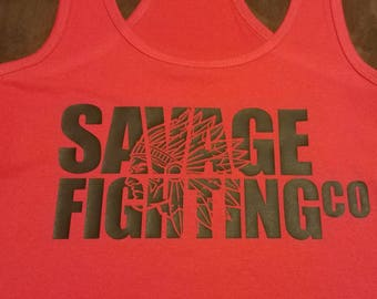 Savage Native Red Racerback Tank with Black design