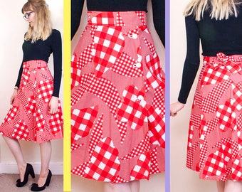 Vintage 50s Skirt, Red Skirt, Checked Skirt, High Waisted Skirt, Midi Skirt, Knee Length Skirt, Full, Womens, Pin Up, 1950s, UK, 8, 34, 4