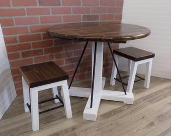 Kids Wood Table Set With 4 Stools / Handmade / Rustic / Modern /