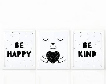 Nursery Art Set of 3, Baby room Wall art, Kids room decor, Black and White, Be happy, Be kind, printable art, scandinavian print, digital