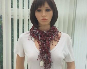 prom accessory ,red metallic shawl, delicate shawl , stylish accessory, pretty shawl, versatile gift, sparkly shawl, affordable gift